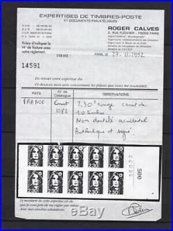 France, Exceptionnel et rarissime le carnet n° 485 (Maury) neuf cote 5350,00