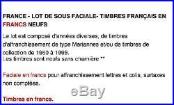 France Lot De Sous Faciale 1000 Euros De Timbres Français En Francs Neufs