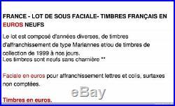 France Lot De Sous Faciale 500 Euros De Timbres Français En Euros Neufs