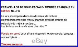 France Lot De Sous Faciale 600 Euros De Timbres Français En Euros Neufs