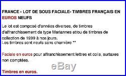 France Lot De Sous Faciale 900 Euros De Timbres Français En Euros Neufs