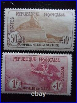 France N° 153 Et 154 Orphelin Neufs Gomme Sans Charniere Ni Trace Signes