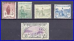 France Orphélins de la guerre. Yvert 148 152. Cote 950 euros