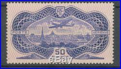 France POSTE AERIENNE N° 15b 50f Outremer burrelage renversé Neuf H2197