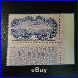 France Poste Aérienne Pa N°15 Daté Signé Brun Neuf Luxe Mnh Cote 1500