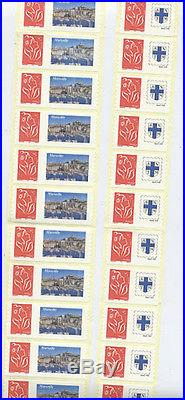 France Timbre 3802a 2 Roulettes Entieres Marianne Lamouche Adhesif Marseille