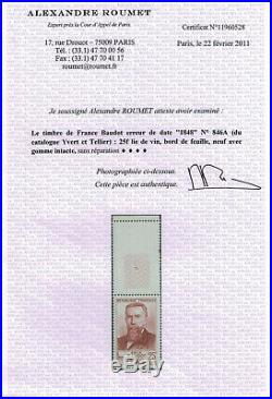 France VARIETE RARE 846A E. Baudot erreur de date, superbe BDF avec certificat