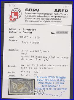 France Yt 122 Neuf Tres Legere 2f Merson Violet Jaune Signe Certificat Weid
