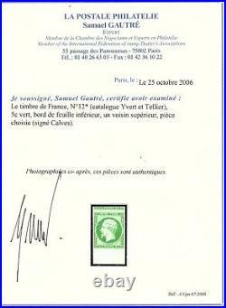 France classique n°12 neuf 5c vert rare++ cote YT 1400 certificat