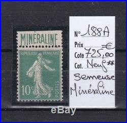 France, superbe Semeuse Minéraline n° 188A, neuf luxe cote 725,00