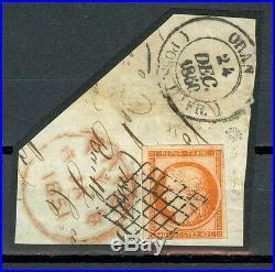 France, timbre N°5 obl. Grille sur fragment, signé Roumet, certificat Fourcaut