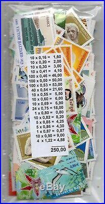 Joli Lot De 250 Euros De Timbres Sous Faciale Livraison Gratuite