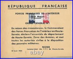 LIBERATION. RRR. HAUTE SAVOIE. FFI ordre général N°1 signé Nizier Signé P MAYER