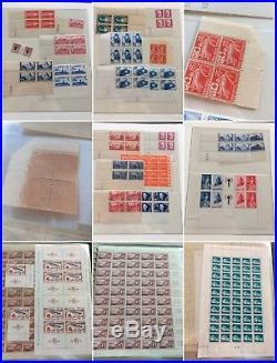 LOT #33 FRANCE collection timbres guerre non dentelés feuilles variétés ++
