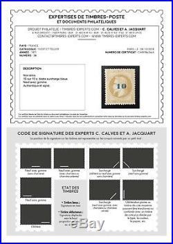 LOT ÉTOILE-29 FRANCE timbre n°34 non émis 1871 TB signé certificat Calves