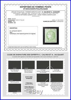 LOT ÉTOILE-31 FRANCE timbre Bordeaux n°42A rare report 1 signé certificat Calves