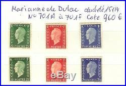 MARIANNE DE DULAC FRANCE YVERT N°701A à 701F NEUF SANS CHARNIERES COTE 960