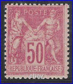N°104 Sage 50c rose type I neuf presque TB 1900 Signé Calves