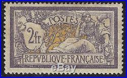 N°122 Merson 2fr Violet et Jaune Neuf très bon centrage TB Signé + Certificat