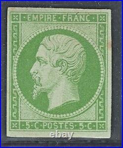 N°12 timbre classique Napoléon non dentelé 5c Vert Neuf TB Signé A. Brun