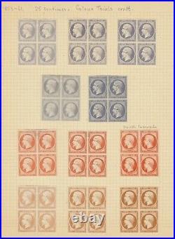 N°15, essais de couleurs, superbe nuancier de couleurs en 54 blocs de 4 TB