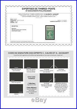 N°188A 10c Vert type semeuse MINÉRALINE Neuf TB Signé Calves & Certificat
