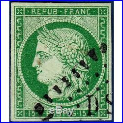 N°2 TYPE CERES 15c. VERT, TIMBRE OBLITERE 1850