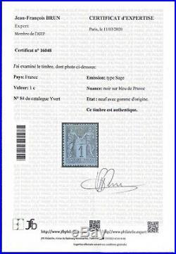 N°84 Sage 1c Bleu de Prusse Neuf RARE 1880 bon état Signé x2 + Certificat