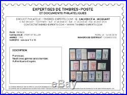 Nos. YT 1-15, Service, Neufs, TB, Signés Calves+certificat, cote 3200