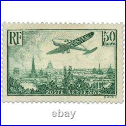 PA N°14a AVION SURVOLANT PARIS, SUPERBE TIMBRE NEUF SIGNÉ-1936