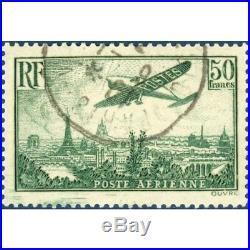 Pa N°14 Avion Survolant Paris, Timbre Oblitéré Avec Gomme 1936