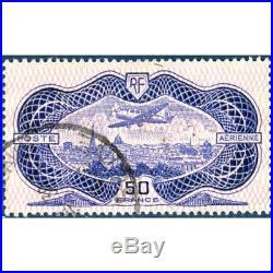 Pa N° 15 Avion Survolant Paris (burelet) Timbre Oblitéré 1936 Signé Brun