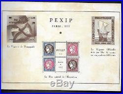 Plaquette PEXIP de l' Exposition de 1937 avec bloc et vignettes