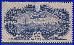 Poste Aérienne n°15 50 fr Burelé burelage normal fraicheur postale signé Calv