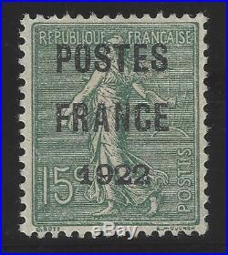 Préoblitéré n°37 POSTE FRANCE 1922 15c Vert-Olive Neuf TB Signé + Certif