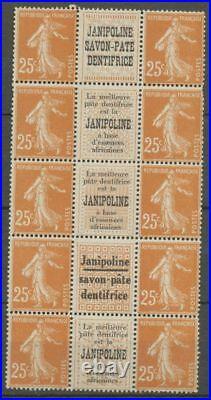 Semeuse 25c. Brun-jaune BLOC DE 10 JANIPOLINE, 3 types, rare, Neuf X1135
