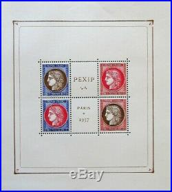 TIMBRE FRANCE, Bloc PEXIP NEUF, timbres n°348/351, 1937