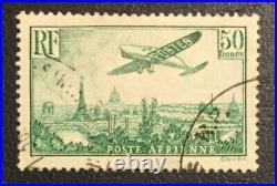 Timbre De France Pa Poste Aérienne N°14 50f Vert-jaune TTB signée Scheller