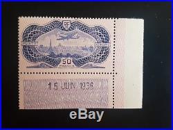 Timbre France poste aérienne neuf XX luxe daté signé 1936 PA yt 15