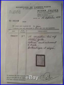 Timbre de france n7a Ceres 1f vermillon oblitéré signé 2 fois, certifié R. Calves