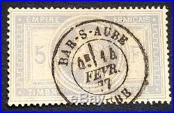 Timbre france, n°33a, 5f empire lauré, TB, Obl, cote 1100e signe Calves
