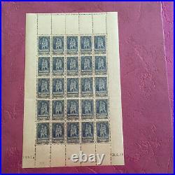 Timbres France feuille N° 399 Cathédrale de Reims x 25 de 1938 N/MNH SHEET