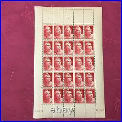 Timbres France feuille N° 733 Marianne de Gandon x 25 de 1945 N/MNH SHEET