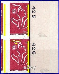 Variete N°3743a Rl Paire Lamouche Non Dentele Predecoupe Lateral S/calves