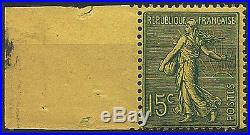 Variété Semeuse n° 130m 15 c vert-gris sur papier JAUNE, RR! TB, certifié