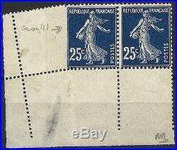 Variété Semeuse n° 140 Maury 25 c bleu, RR variété de piquage TAN, TTB