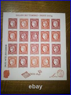 Variété bloc salon du timbre Paris 2014 impression décalée rarissime