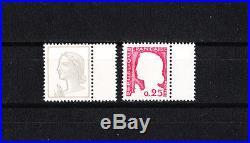 Variété timbre France Decaris carmin absent et gris absent NUM 1263