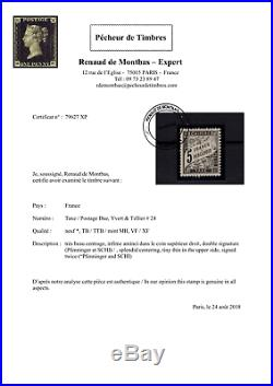 Xp79627 / France / Postage Due / Certificat / Y & T # 24 Neuf 4000