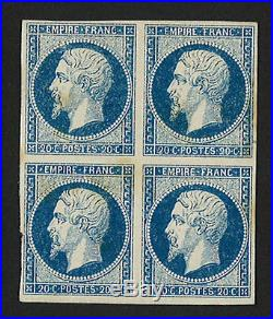 YT N°14Aa France Bloc 4 valeurs 20c bleu foncé Second Empire NEUF 1853-60